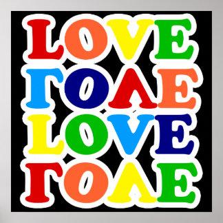 Día de San Valentín del amor del arco iris del Hip Póster