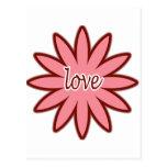 Día de San Valentín del diseño floral del amor Tarjeta Postal