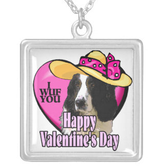 Día de San Valentín del perro de aguas de saltador Collar