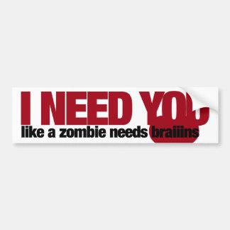 Día de San Valentín del zombi Pegatina Para Auto