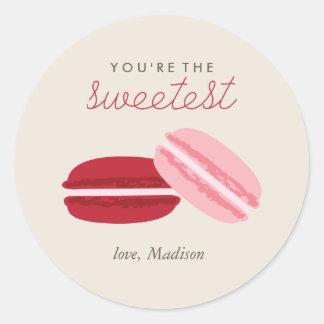 Día de San Valentín dulce de Macarons Pegatina Redonda