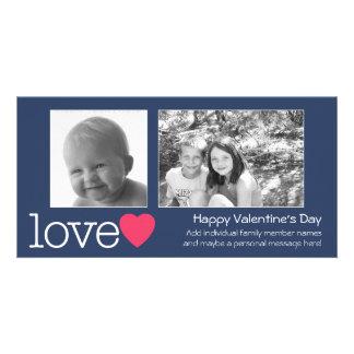 Día de San Valentín feliz - 2 fotos - horizontal Tarjeta Fotográfica Personalizada