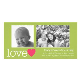 Día de San Valentín feliz - 2 fotos - horizontal Tarjetas Con Fotos Personalizadas
