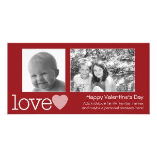 Día de San Valentín feliz - 2 fotos - horizontal Tarjeta Con Foto Personalizada