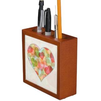 Día de San Valentín feliz con los corazones colori Portalápices