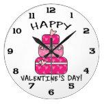 Día de San Valentín feliz de la torta del corazón Reloj De Pared