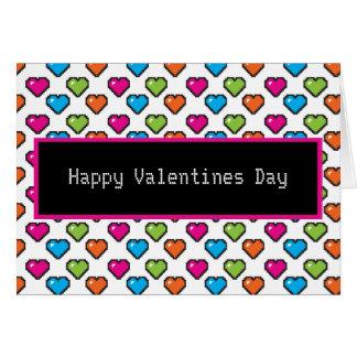 día de San Valentín feliz del corazón de 8 bits Tarjeta De Felicitación
