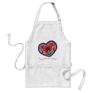 Día de San Valentín feliz del solo corazón Delantal