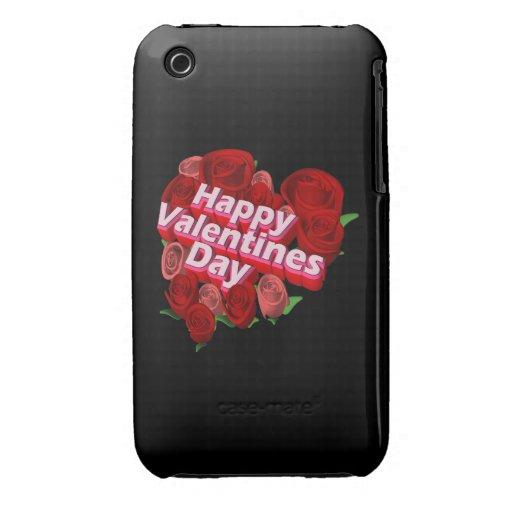 Día de San Valentín feliz iPhone 3 Carcasas