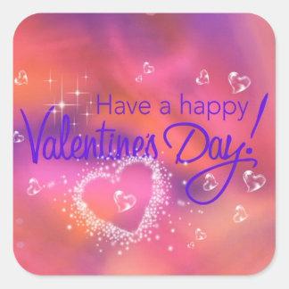 día de San Valentín feliz Pegatina Cuadrada