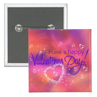 día de San Valentín feliz Pin Cuadrado