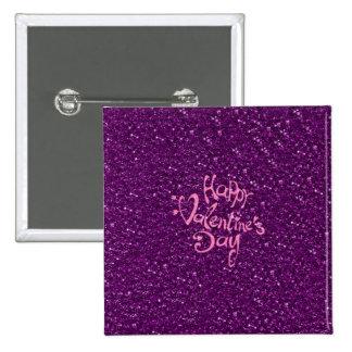 día de San Valentín feliz, púrpura Pin Cuadrado