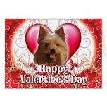Día de San Valentín feliz Yorkie Tarjeton