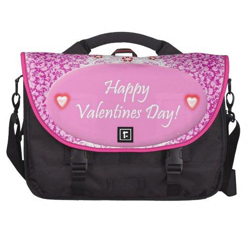 Día de San Valentín floral del rosa y blanco Bolsas De Ordenador