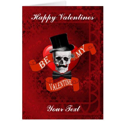 Día de San Valentín gótico del cráneo y del bigote Tarjeta