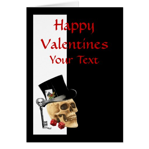 Día de San Valentín gótico del jugador del cráneo  Felicitacion