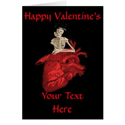 Día de San Valentín gótico negro del corazón Tarjeta