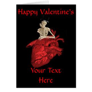 Día de San Valentín gótico negro del corazón Tarjeta De Felicitación