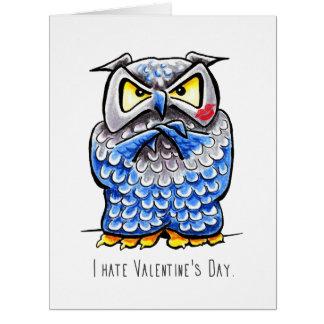 Día de San Valentín gruñón del odio del búho Tarjeta De Felicitación Grande