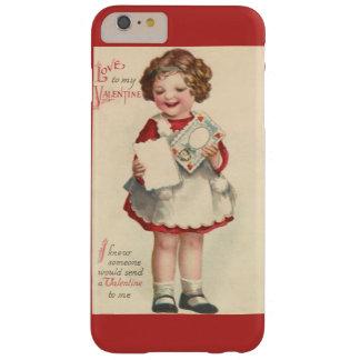Día de San Valentín lindo del vintage, chica con Funda Barely There iPhone 6 Plus