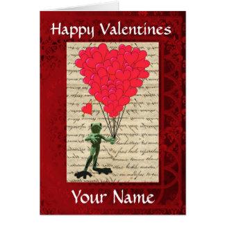 Día de San Valentín lindo divertido de la rana Tarjeta De Felicitación