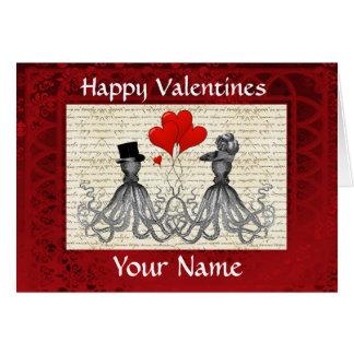 Día de San Valentín lindo divertido de los pulpos Tarjeta De Felicitación