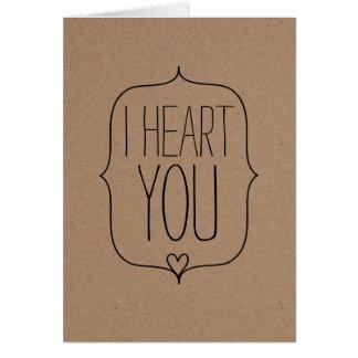 Día de San Valentín lindo rústico del corazón del Tarjeta De Felicitación