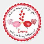 Día de San Valentín que besa a los pegatinas de Etiquetas Redondas