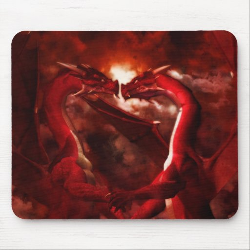Día de San Valentín rojo Mousepad del dragón Tapetes De Raton