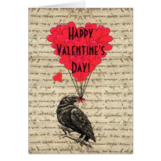 Día de San Valentín romántico del cuervo Tarjeta De Felicitación