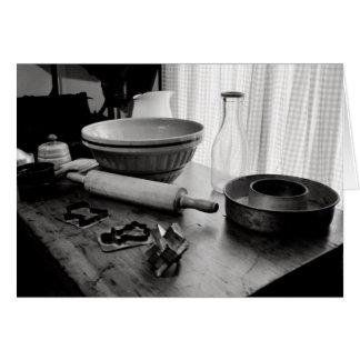Día de Scene~Baking de la cocina del vintage Tarjeta De Felicitación
