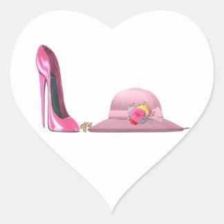 ¡Día de señoras! Arte rosado del zapato y del Pegatina En Forma De Corazón