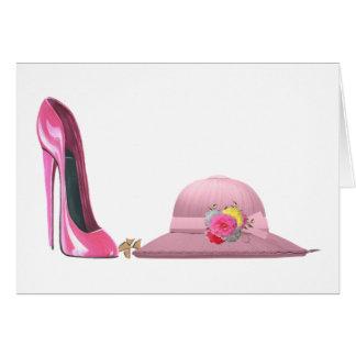 ¡Día de señoras! Arte rosado del zapato y del Tarjeta Pequeña