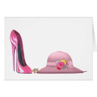 ¡Día de señoras! Zapato y gorra rosados del Tarjeta De Felicitación