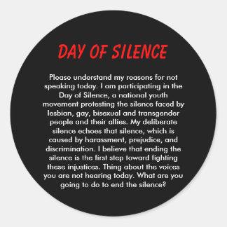 Día de silencio etiquetas redondas