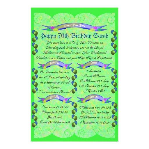Día de su nacimiento - 70.o cumpleaños feliz papeleria personalizada