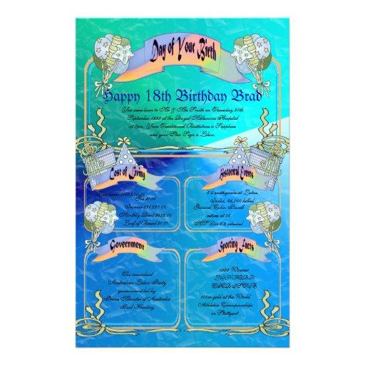 Día de su nacimiento - décimo octavo cumpleaños fe papeleria personalizada