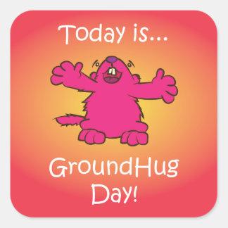Día de tierra del abrazo pegatina cuadrada