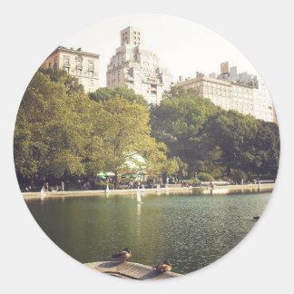 Día de verano, Central Park, New York City Pegatina Redonda