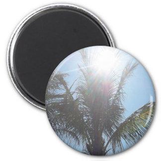Día de verano de la palmera imán redondo 5 cm