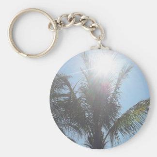 Día de verano de la palmera llavero redondo tipo pin