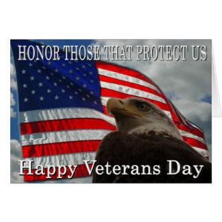Día de veteranos de la bandera de Eagle Tarjeta De Felicitación