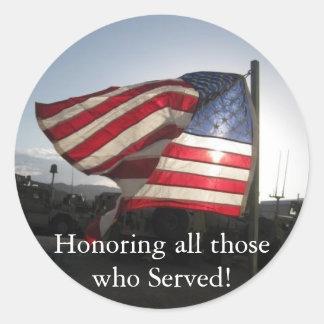 ¡Día de veteranos feliz! Pegatina Redonda