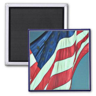 Día de veteranos feliz, smiley de la bandera ameri imán cuadrado