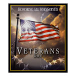 Día de veteranos - honrando a todos que sirvieron póster