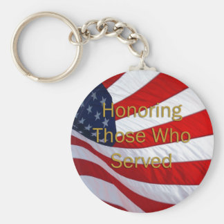 Día de veteranos que honra a los que sirvieron llavero redondo tipo pin