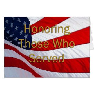 Día de veteranos que honra a los que sirvieron tarjeta de felicitación