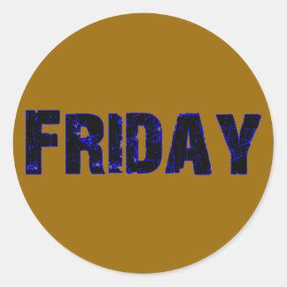 Día de viernes de la mercancía de la semana pegatina redonda