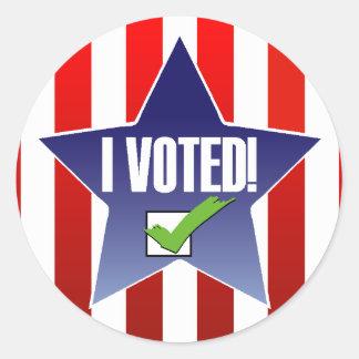 ¡Día de votación! ¡Voté! Pegatina Redonda