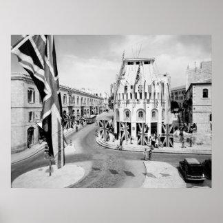 Día de WW2 VE en Jerusalén, 1945 Póster